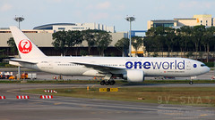 Japan Airlines, A member of One World (SNA Aviation Photography) Tags: world japan one airport singapore boeing changi airlines 777 changiairport jal japanairlines boeing777 oneworld 772 777200er ja708j boeing777200er boeing772