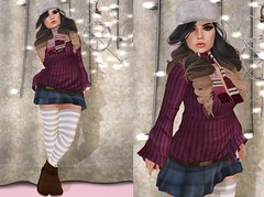 Post #1645 ( =^^=) Tags: pink winter light brown white snow cute hat fashion scarf hair boot blog mesh body head decoration stripe twinkle skirt ombre sparkle secondlife kawaii button stocking hud decor snuggly applier pinkatude