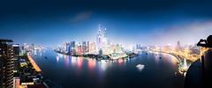 Shanghai Skyline at night (pfn.photo) Tags: china panorama skyline asia cityscape shanghai bluehour pudong jinmaotower orientalpearltower swfc huangpuriver megacity huangpujiang shanghaitower