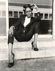 Shanice is reading law (Busha_b) Tags: lawyer city suit shirt tie monochrome fashion heels style chic caribbean bantuknots steps reflections provocotive