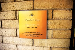 20161214  Sign on Outside Office Wall (lasertrimman) Tags: 20161214 wooddale village retirement community wooddalevillageretirementcommunity suncity az sign outside office wall signonoutsideofficewall ruth