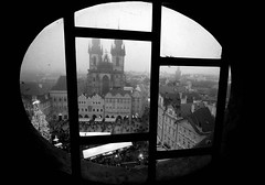 view from the window (EliB.) Tags: biancoenero blackandwhite bn bianco nero black white bw monocromo cerchio rotondo prague praha praga czechrepublic city town città oldtown oldtownsquare square church view vista panorama window windows finestra finestre glass vetro piazza chiesa edifici edificio line lines travel travels travelling traveller viaggio viaggi viaggiare viaggiando building buldings christmasmarket christmas christmastree architettura architecture art arte circle round spherical tower torre hall municipio canon eos 550d dark contrast contrasto constrati