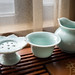 Chinese tea set - tea bag rester, strainer and jug
