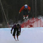 Tabor Western Ski Cross event Jan 2017 - Lucas Gairns leads Shawn Nydegger at finish jump training Jan 22