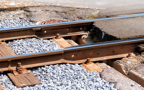 Aigle–Ollon–Monthey–Champéry Railway, Switzerland - Tram Track joins Rail Track at Monthey - En Place on the 11th July 2015