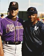 Tim Raines and a Bear (NJ Baseball) Tags: 2000 timraines somersetpatriots atlanticleague independentleague newjersey bridgewater somersetcounty halloffamer