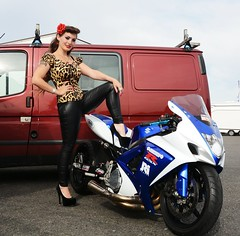 Holly NF 127 (Fast an' Bulbous) Tags: suzuki gsxr bike motorcycle dastspeed power drag race dragbike biker chick babe girl woman hot sexy hotty people outdoor leopard print long brunette hair high heels stilettos leather pvc jeans leggings pinup model santa pod england