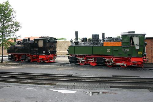 HSB: Mallet-Loks 99 5901 und 99 5902  (neue HU und frisch in grün lackiert) in Wernigerode