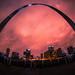 Arch at Night (nixter) Tags: 8mm arch clouds distortion downtown gatewayarch gatewaytothewest rokinon saintlouis stlouis stlouisarch stainless steel stl