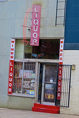 Liquor, Memphis, TN (Robby Virus) Tags: memphis tennessee tn liquor store business neon sign signage arrow facade entrance front booze alcohol beer wine whiskey spirits wines crown royal