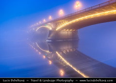Hungary - Budapest - Margit Híd - Margaret Bridge at Very Misty Dusk - Twilight - Blue Hour - Night (© Lucie Debelkova / www.luciedebelkova.com) Tags: margithíd margaretbridge budapest magyarország hungary danube dunaj river europe evropa eu twilight dusk world exploration trip vacation holiday place destination location journey tour touring tourism tourist travel traveling visit visiting sight sightseeing wonderful fantastic awesome stunning beautiful breathtaking incredible lovely nice best perfect water waterscape wasser agua shoreline shore beach praia plage spiaggia strand wwwluciedebelkovacom luciedebelkova luciedebelkovaphotography