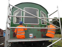 Michael and Bob undercoat the Camping Coach 30Aug15