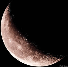 At 04:06 GMT on Monday, 07 September 2015 the waning moon's phase was 31.87% full. (Wyld-Katt) Tags: moon lunar