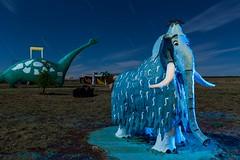 Woolly Mammoth (Aztravelgrl (Sandra Jungling)) Tags: longexposure nightphotography arizona usa lightpainting lowlight williams roadsideamerica flinstones bedrockcity