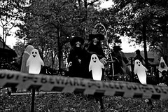 Witches (@tedchang) Tags: nyc blackandwhite newyork halloween beware witch ghost queens tape foresthills foresthillsgardens sel24f18z