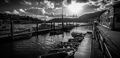 A few boats (pootlepod) Tags: ocean sea blackandwhite water monochrome boats sundown harbour jetty anchor tiedup dartmouth sinking yatchs dingies canon60d