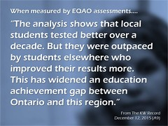 Educational Postcard:  Local students are being outpaced by students in the province (Ken Whytock) Tags: ontario students education over gap achievement shows local improved region better elsewhere results analysis decade tested widened outpaced