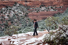 Be Careful! (Styggiti) Tags: travel winter arizona usa snow arch desert hiking sedona naturalbridge lemonjelly devilsbridge 2015