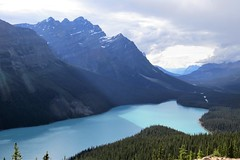 Milky Blue Peyto Lake (Patricia Henschen) Tags: banff banffnationalpark nationalpark icefieldsparkway park parks parcs parkscanada peyto lake bowsummit peytolake mistayariver glacier creek rockflour mountains mountain canadian canadianrockies rockies rocky rockymountains clouds