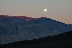 Good Morning and Good Night (matthewkaz) Tags: salinevalley moon moonset sunrise mountains mountain deathvalley desert inyomountain california 2014