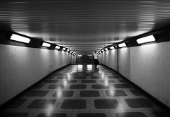 (cherco) Tags: alone solitario solitary perspectiva perspective light tunel tunnel lonely blackandwhite blancoynegro reflexions reflejos repetition repeticion man human city ciudad street calle people bw canon composition 5d