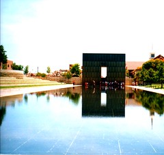 Oklahoma City Bombing Memorial ~ Oklahoma City ~ Oklahoma (Onasill ~ Bill Badzo) Tags: oklahomacity oklahoma ok bombingmemorial vintage photo old militia federalbuilding alfred p murrah mcveigh star wars death terrorist citybombingmemorial gateoftime visitors travel tourist attractionsite memorial reflection sunset empty chairs davismemorial vacantchair landmark arts district nrhp county midwest unitedstates onasill
