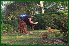 In anticipation of New Year (Irina Kiseleva) Tags: tree bird woman photoborder plant grass bag hat leaf shadow composition nature color green blue white black orange earing