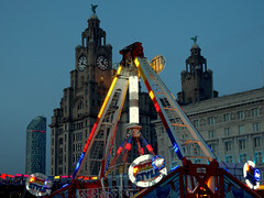 Illuminated ride in Liverpool (Tony Worrall) Tags: england northern uk update place location north visit area county attraction open stream tour country welovethenorth northwest unitedkingdom liverpool merseyside mersey scouse architecture building lights ride kids dusk fun