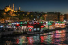 Istanbul Waterfront Bazaar at Night (Oleg S .) Tags: istanbul travel turkey boat mosque night reflection river water