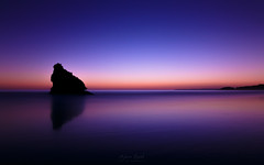 Stratospheric Glow (Adam West Photography) Tags: adamwest algarve glow portugal afterglow beach blue cliffs indigo limestone mauve purple reflections rocks sea seagull stack violet