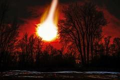 Night Of The Giant Asteroid (Wes Iversen) Tags: baycity baycitystaterecreationarea hss michigan nikkor24120mm sliderssunday asteroids fantasy flames snow trees fakenews conspiracies