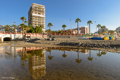 Costa Reflections. (I'mDKB) Tags: 2014 benalmadena july spain sunrise imdkb andalucia andalusia costadelsol 1835mm 1835mmf3545g lightroom5 lr5 reflections palmtrees malaga