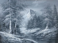 Winter (alanpeacock2) Tags: flickrnova monochrome painting photostream snow trees water winter mountains river