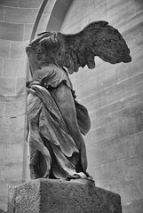 Winged Victory (jfusion61) Tags: bw sculpture white black france louvre du victory muse winged