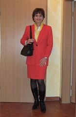 Kostm (Marie-Christine.TV) Tags: red lady feminine transvestite secretary kostm mariechristine skirtsuit sekretrin