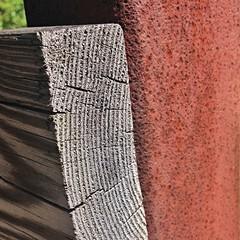 bridge detail ~ HMM! (karma (Karen)) Tags: wood texture metal bridges maryland baltimore neighborhood hmm squared iphone macromondays weatheredworn