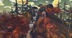 Extrinsic (Kozu.misu) Tags: autumn mountains forest waterfall woods scenery cloudy sl secondlife virtualreality hd atmospheric slphotography kilu kozumisu