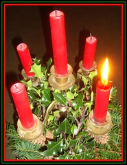 First Sunday in Advent (Margaret Edge the bee girl) Tags: light red candles five sunday adventwreath holly flame greenery yew christianity candleabra