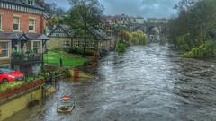 Flooding in Knaresborough (barronr) Tags: bridge england building boat flood yorkshire knaresborough rivernidd
