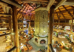 Lobby (Karen_Chappell) Tags: hotel xmas noel holiday christmas architecture cabin montebello logcabin travel quebec people wood wooden fireplace canonefs1022mm wideangle