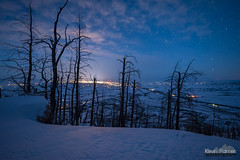 Above the Burn (kevin-palmer) Tags: bighorn sheridan bighornnationalforest bighornmountains january winter snow snowy evening irix15mmf24 blue sky night stars starry astronomy astrophotography snowshoeing clouds burnt trees lights lightpollution nikond750