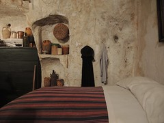 Italy (Matera) Bedroom of Sassi-Cave houses dug into the limestone rocks (World Heritage Site) (ustung) Tags: italy matera sassi cavehouse limestone stonework bedroom interior nikon worldheritage
