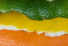 Peeled stripes (jeff's pixels) Tags: macro monday peel color orange lemon lime fruit itsapeelingtome nikon stripe