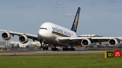 Singapore A380 Crosswind Touchdown. (spencer.wilmot) Tags: egll heathrow lhr airside ramp sq sia singaporeairlines a388 a380 a380800 airbus widebody heavy super longhaul massive whalejet whale quad doubledecker touchdown runway plane civilaviation aviation aircraft airplane airliner airport arrival apron approach london landing huge jet jetliner