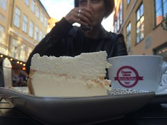 Cheesecake and coffee.