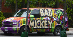Vancouver - Bad Mickey (cocabeenslinky) Tags: road street city urban streetart canada west green art face vancouver truck lumix photography graffiti paint downtown artist peace photos painted bad august columbia mickey spray panasonic coastal british van graff seaport artiste municipality 2015 dmcg6 cocabeenslinky