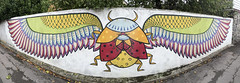 Scarab beetle wall art (Steven Vacher) Tags: graffiti beetle glastonbury wallart somerset scarab scarabbeetle