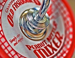 Old Fashioned Peanut Butter Mixer-HMM! (Jo-85'F today. Whew, gonna be HOT!!!) Tags: red white metal colourful gadget helpful hdr lid useful timesaver photomatix macromondays toolsutensils oldfashionedpeanutbuttermixture