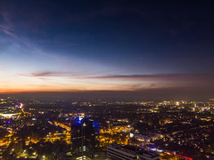 Dortmund at sundown from Florianturm (IanHartS) Tags: city sky tower cars skyline night clouds germany de deutschland center citycenter dortmund nordrheinwestfalen westfalenpark