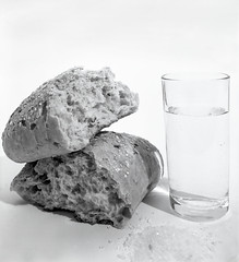 Bread, Salt and Water (Iam Burn) Tags: light blackandwhite stilllife water glass monochrome studio bread salt shade penn ilford largeformat toyo ilfordfp4plus iso125 irvingpenn tonality toyofield45 breadsaltandwater ilfordfp4plus5x4inchsheetfilm